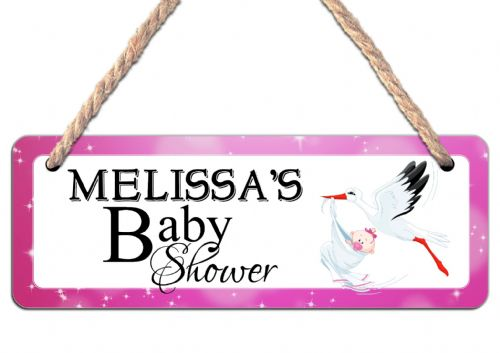 Personalised Baby Shower Hanging Sign N25 Wall or Door Plaque